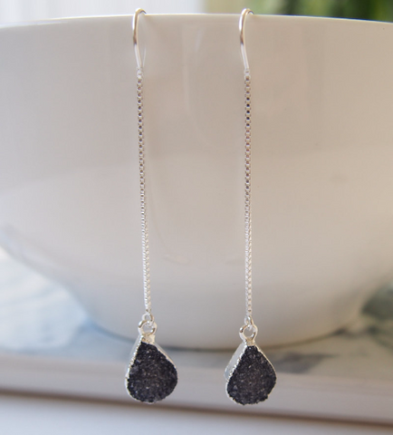 Black Druzy Gemstone Sterling Silver Threader Chain Earrings