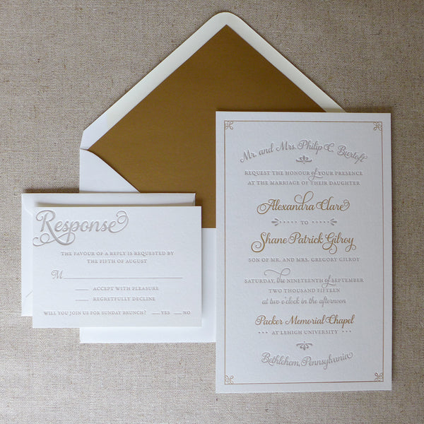Alexandra Invitation (shown with optional RSVP Card + Envelope and Envelope Liner)