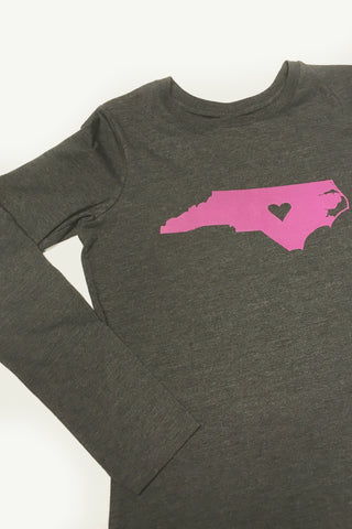 NC North Carolina Long Sleeve Ladies Hot Pink State