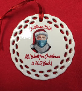 2020 Christmas Ornament - Santa in a Mask