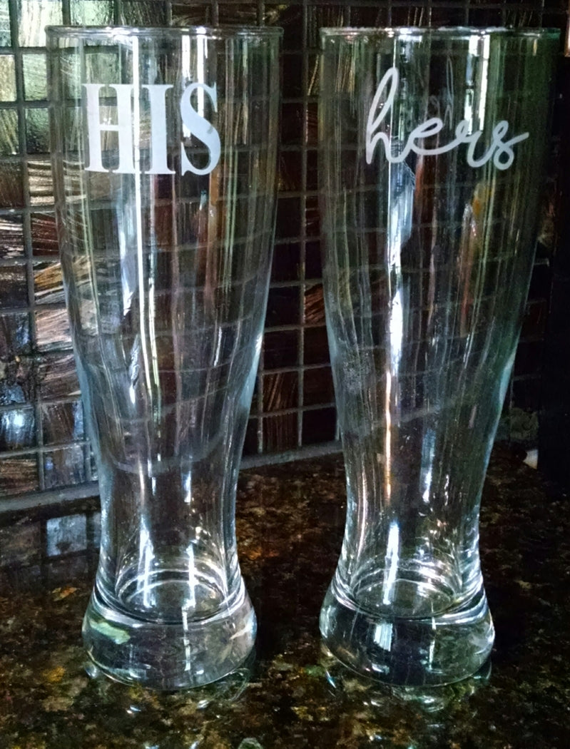 His/Hers Pilsner Glass Set - ETCHED