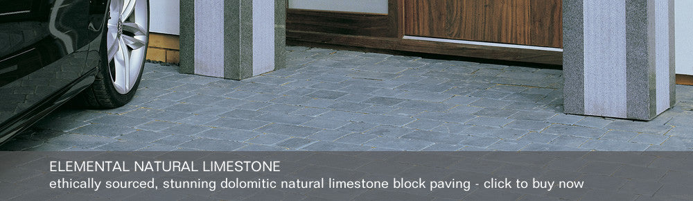 Elemental Natural Limestone - ethically sourced, stunning dolomitic natural limestone block paving - click to buy now