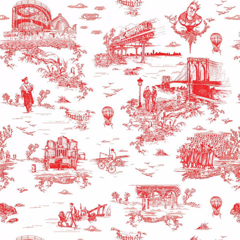 BROOKLYN TOILE   DIAMOND RED