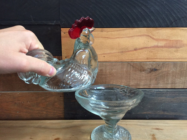 VINTAGE GLASS ROOSTER DISH