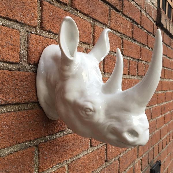 Porcelain Rhino Head