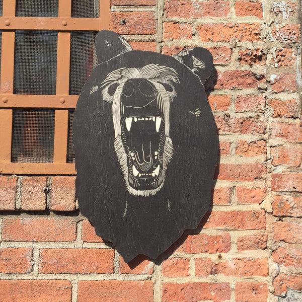LASER CUT WOOD BEAR HEAD