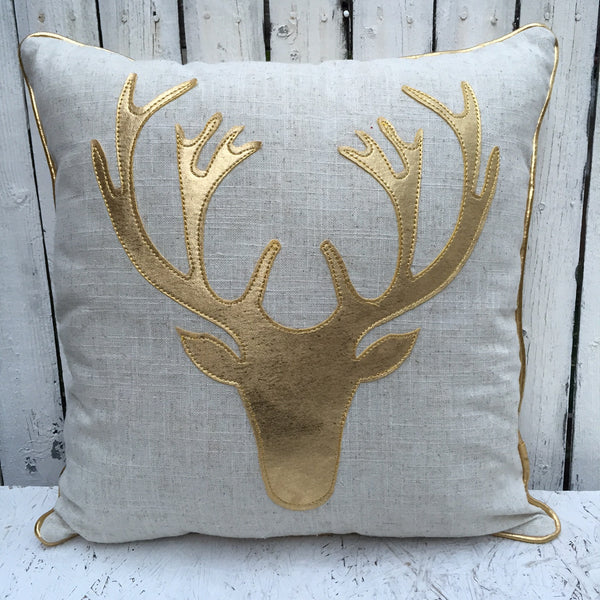 GOLD DEER PILLOW