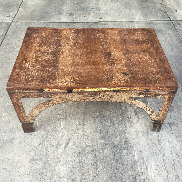 RUSTED METAL COFFEE TABLE