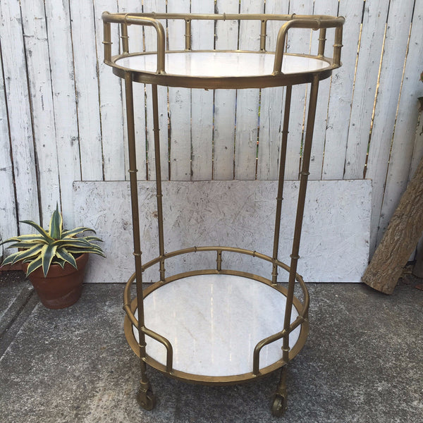 BAMBOO AND MARBLE BAR CART