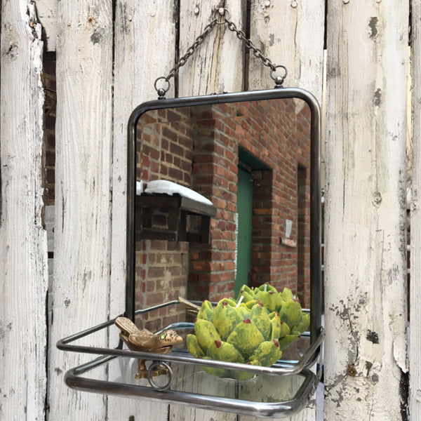 SMALL WALL MIRROR w/GLASS SHELF