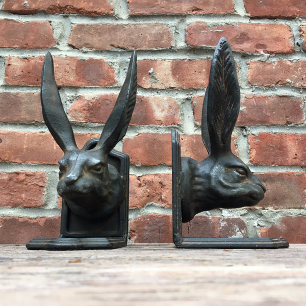LONG EARED RABBIT BOOKENDS