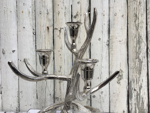 SILVER ANTLER CANDLESTICK     LARGE