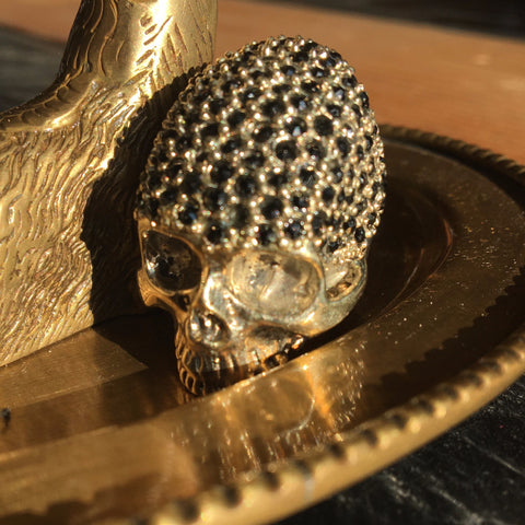 BLACK CRYSTAL SKULL RING