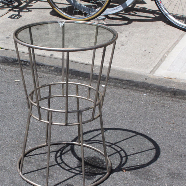 IRON AND GLASS SIDE TABLE