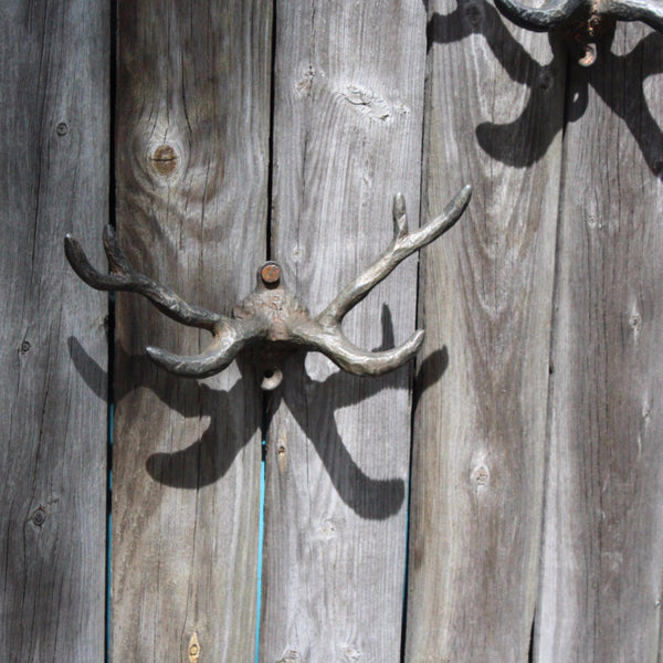 DOUBLE PEWTER ANTLER HOOK
