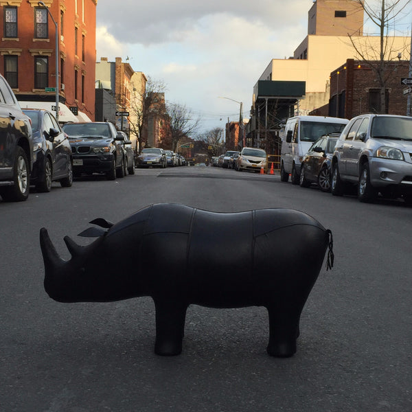 LEATHER RHINO FOOTSTOOL