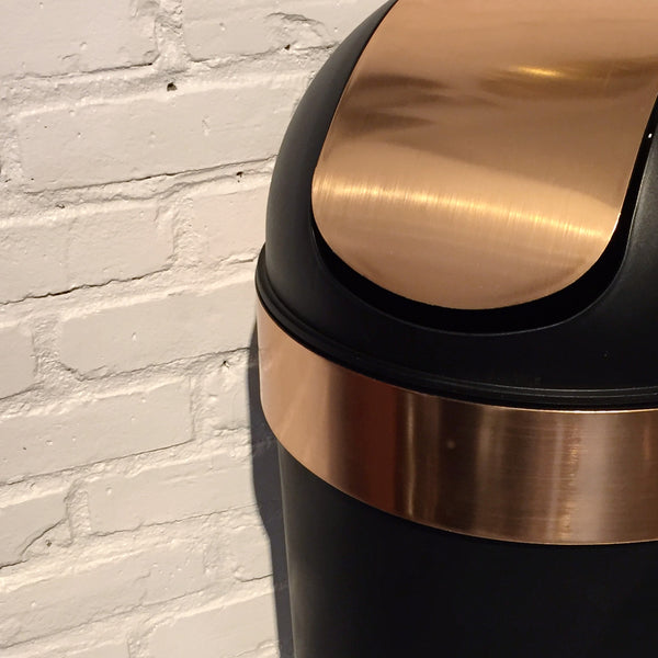 COPPER AND BLACK TRASH CAN