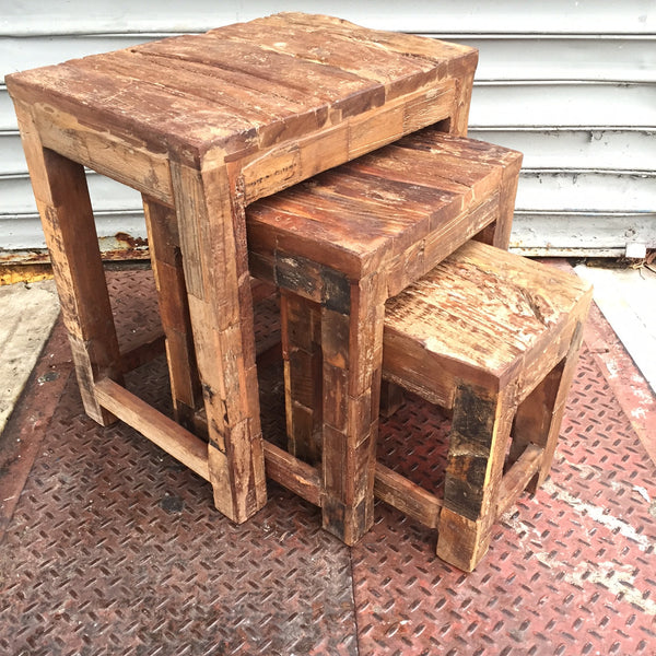 RAILROAD TIE NESTING TABLES