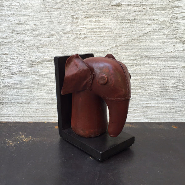 LEATHER ELEPHANT BOOKENDS