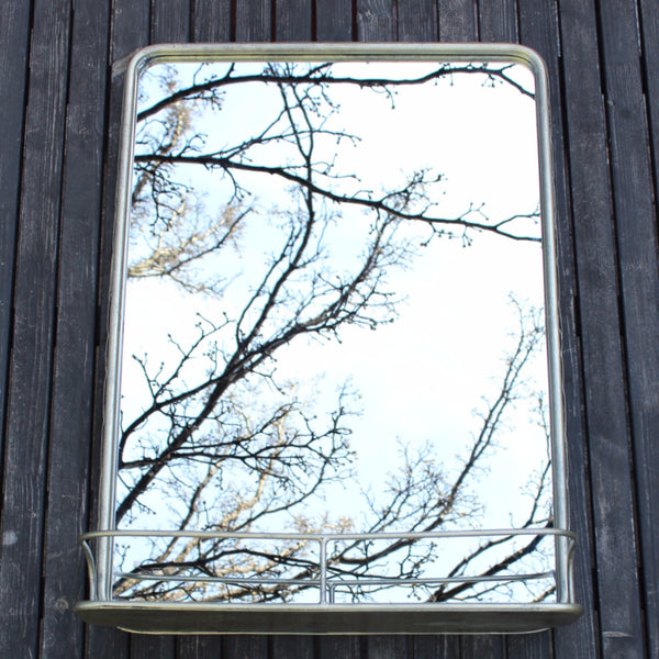 VINTAGE NICKEL MIRROR w/ SHELF