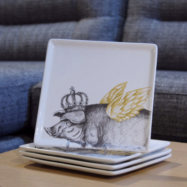 FLYING KING PIG PLATE