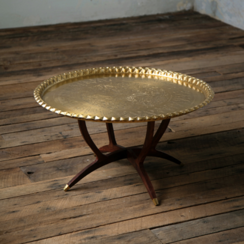 ETCHED BRASS COFFEE TABLE