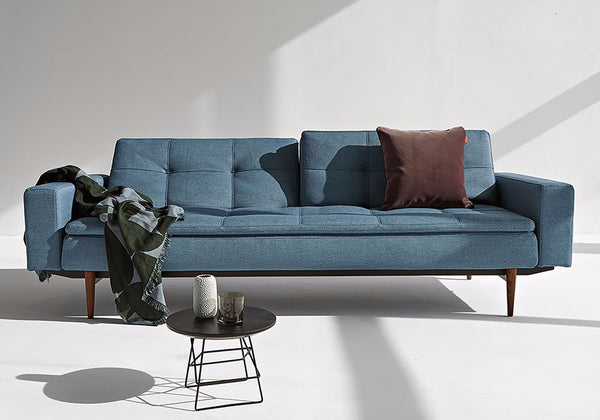 DUBLEXO DELUXE SLEEPER SOFA w/ARMS and DARK WOOD BASE