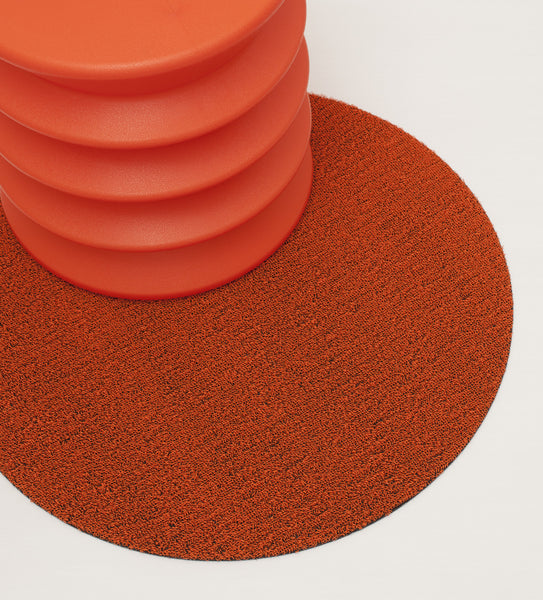 "SHAG FLOORMAT - SOLID DOT - 24"" ROUND - ORANGE"