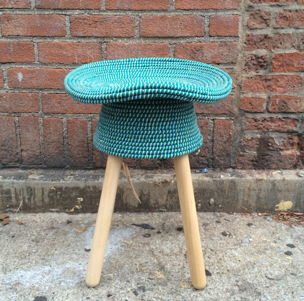 COILED STOOL   AQUA