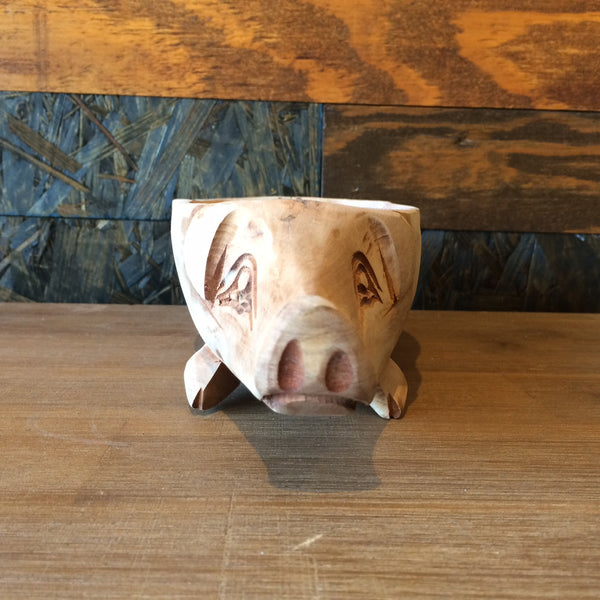 HANDCARVED PIG BOWL