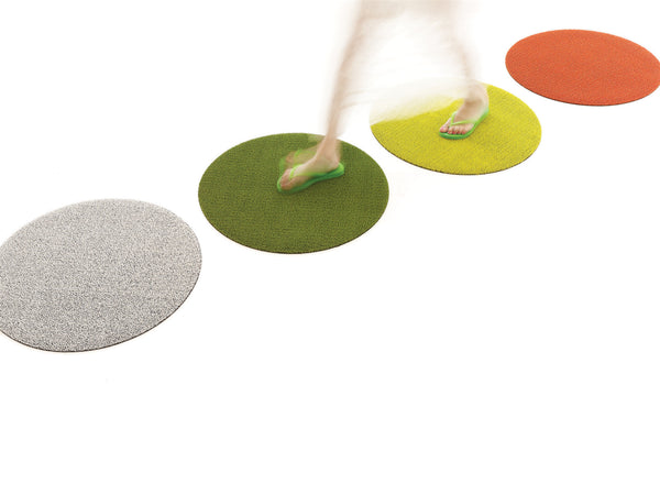 "SHAG FLOORMAT - SOLID DOT - 24"" ROUND - YELLOW"