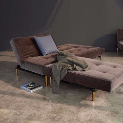 ARMLESS SPLITBACK SOFA WITH BRASS LEGS