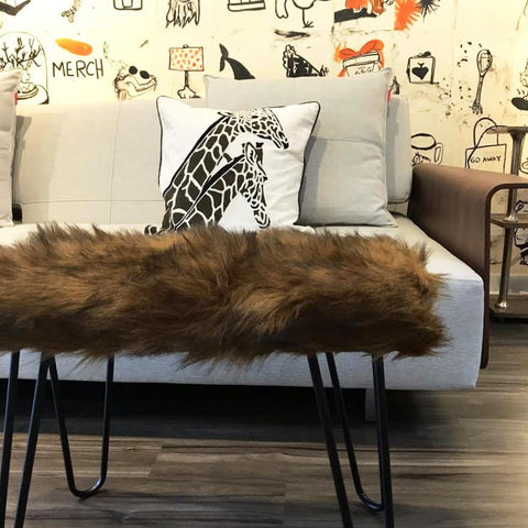 FUR FOOTSTOOL - TAN