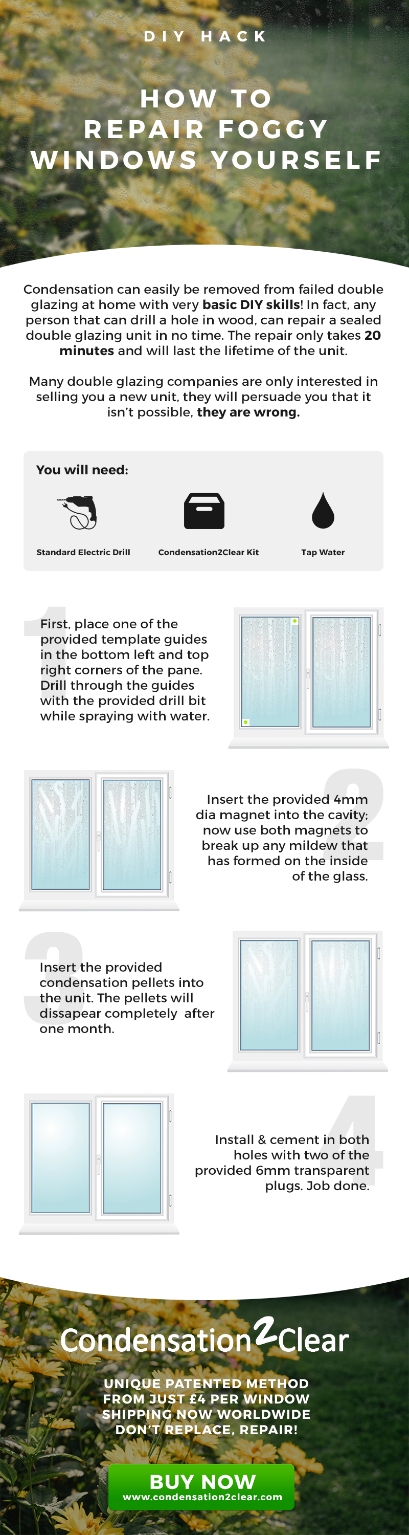 How to repair foggy windows yourself infographic