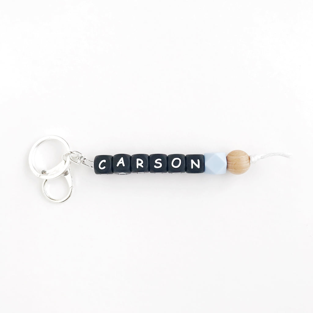 Bag/Key Clip - PERSONALIZED: Black Letter Beads