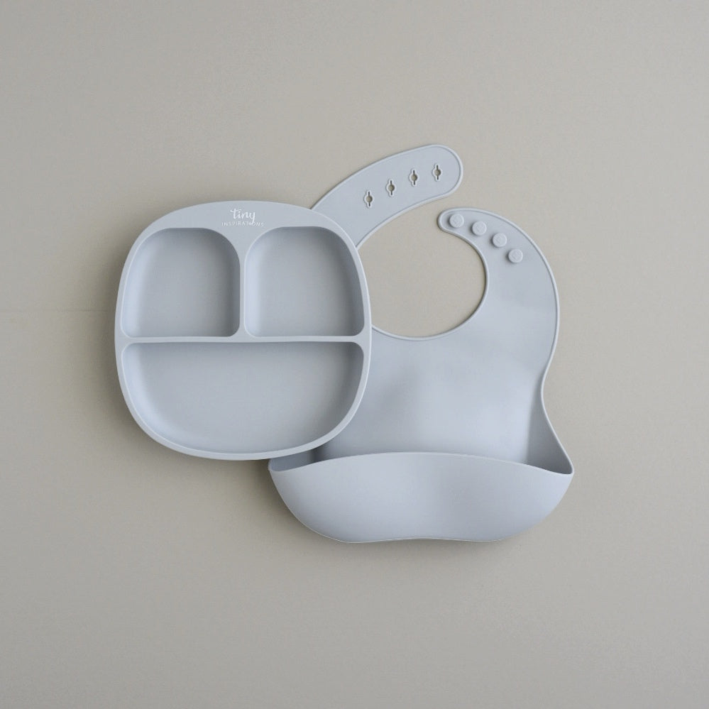 Silicone Divided Plate with Suction and Bib Set - Dove