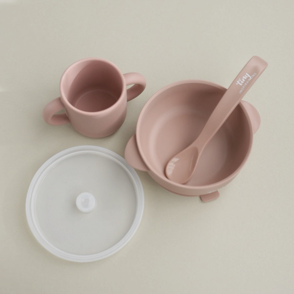 Silicone Bowl+Spoon and Cup Set - Rosewood