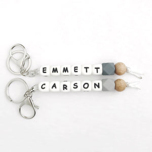 Bag/Key Clip - PERSONALIZED: White Letter Beads