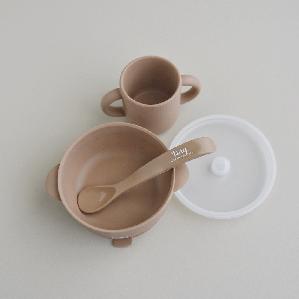 Silicone Bowl+Spoon and Cup Set - Mocha