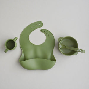 Silicone Bowl+Spoon and Cup Set - Army