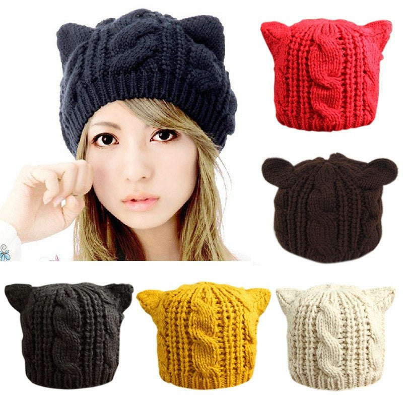 Hand Knitted Cat Ear Beanie - Galaxy Teez - Shirts 475d98860c40