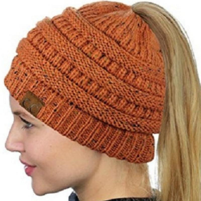 ... ponytail hole · Winter Messy Bun Knitted Beanie Ponytail - Messy Bun  Beanie Knitted Hat Winter Ponytail Beanie With 2b347bbcf06