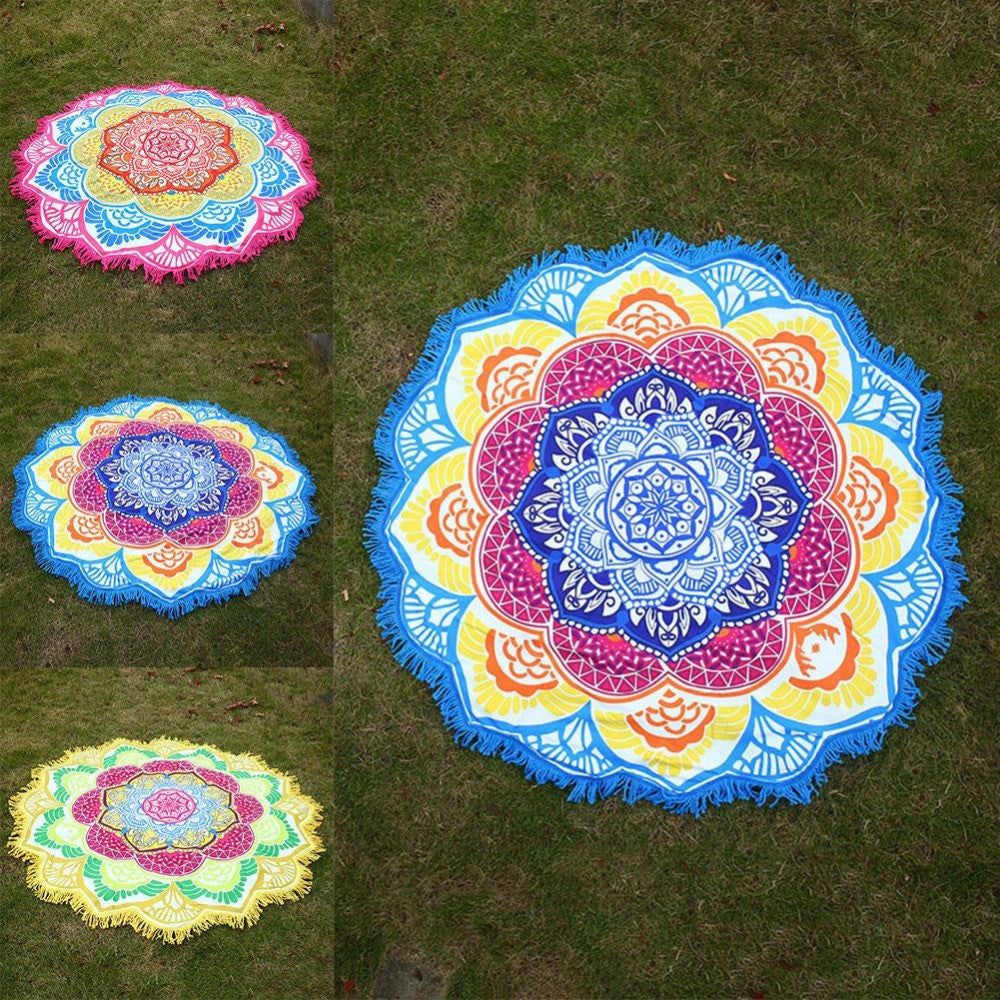 Mandala Lotus Flower Shape Beach Blanket Galaxy Teez Shirts
