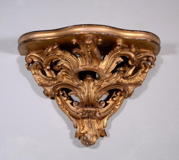 "20"" French Louis XV Antique Sconce Gilt Wood Corbel/Shelf"