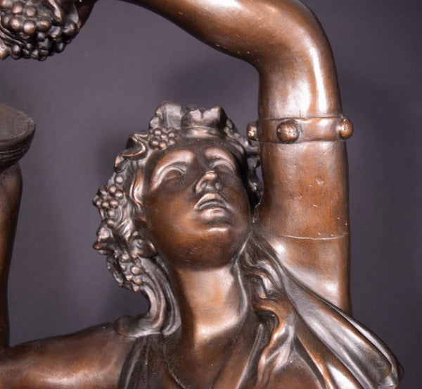 "37"" Tall Antique Bronzed Plaster Sculpture of a Woman with Grapes by Clodion"