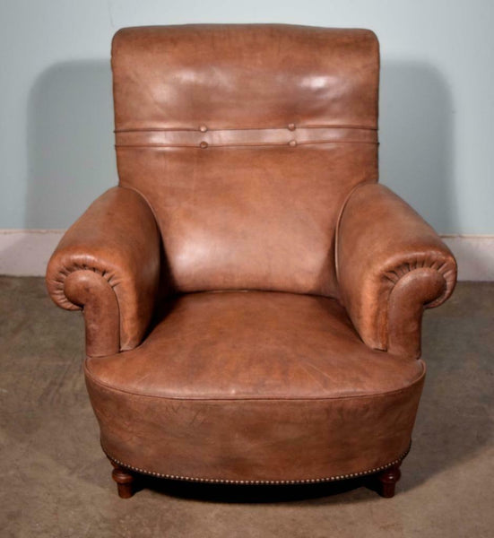 Vintage French Leather Upholstered Armchair Club Chair