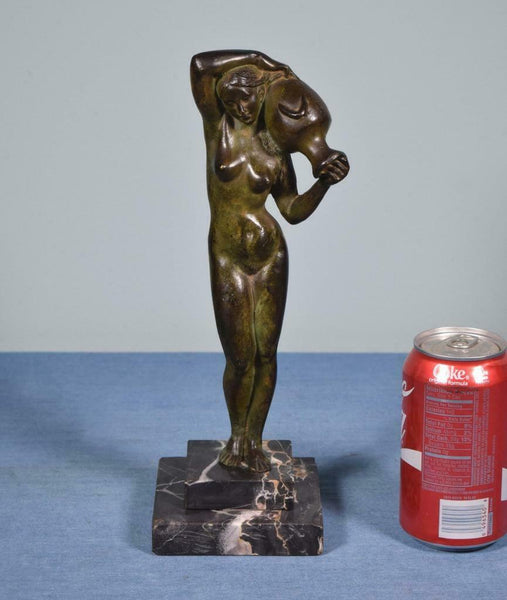 Antique French Nude Bronze Sculpture of a Woman with Marble Base