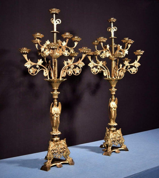 "43"" Antique Gilt Bronze Church Candlesticks/ Candelabra with Angels Religious"