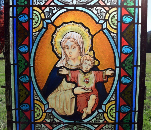 "Antique French Stained Glass Panel w/Leaded Glass ""Mary and Jesus"" Religious"