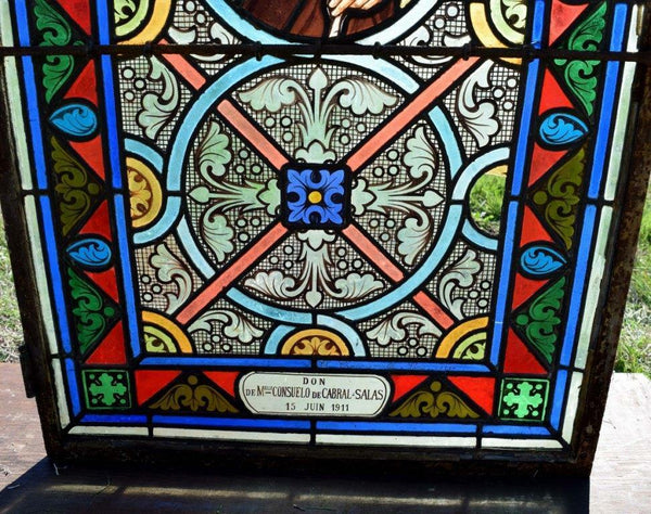 "Antique French Stained Glass Panel w/Leaded Glass ""Joseph"" Religious"